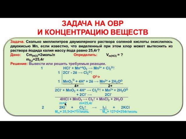 № 118. Неорганическая химия. Тема 11. ОВР. Часть 31. Задача на тему «ОВР». Растворы