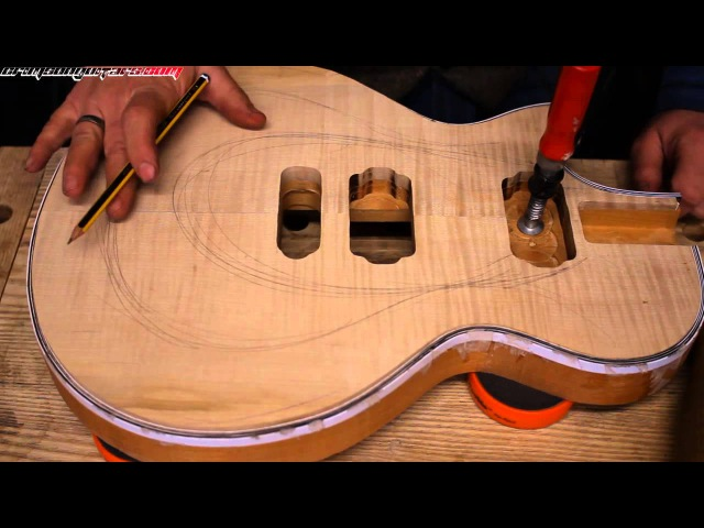 How to carve a Les Paul style guitar top.. by hand! pt 1 tools rough carving