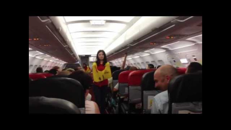 Funniest safety briefing ever with sexy Thai flight attendant Air Asia AK-1922