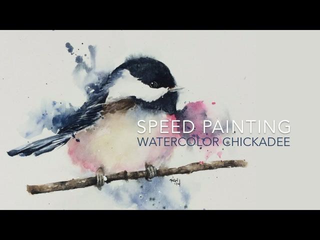 Speed Painting Loose Watercolor Chickadee