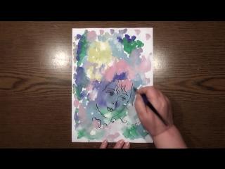 Быстрое Рисование | ✿ Цветы в Моей Голове | Техника Монотипия | Гуашь
