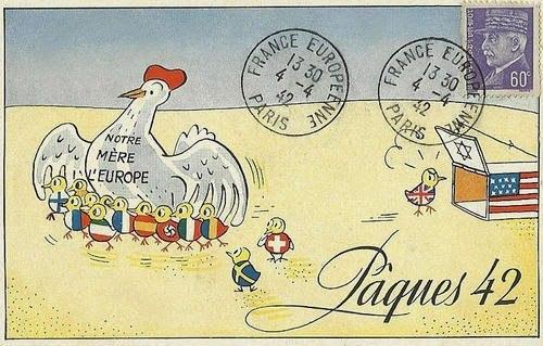 <p>1942 metais Vokietijos okupuotoje Prancūzijoje išleistas atvirukas:</p>  <p>