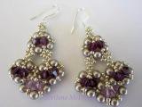 Beaded Earrings with amethyst Swarovski crystals