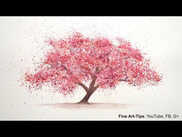 How to Paint a Cherry Tree in Watercolor - Splatter Painting Trees - Paint a Tree - Sakura