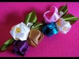 D.I.Y. Kanzashi inspired Satin Tulip Flower Hair Clips - Tutorial  MyInDulzens
