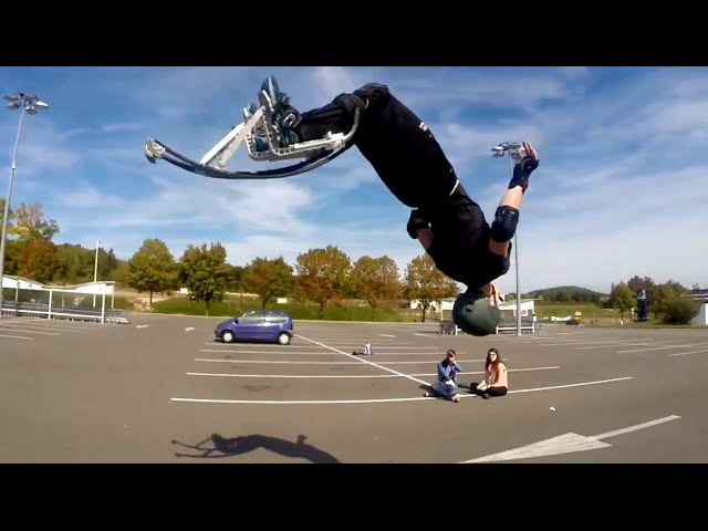 Échasses Urbaines / Jumping stilts / Powerbocking : Street freestyle Flat 2014