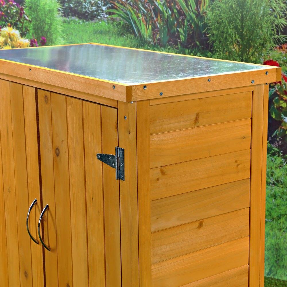 Mesa armario almac n de madera para jard n terraza balc n for Armario para balcon exterior