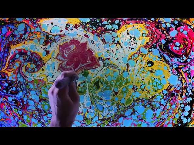 Ebru - fairy colors. Animated water show. Рисование НА воде! Танцующие краски