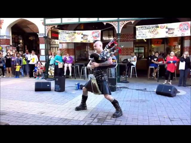 Bagpipes ACDC Thunderstruck with flames Bad Piper