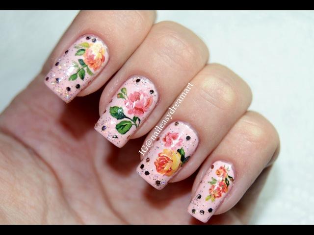 Rose Water Stickers Decals Glitter Nail Art | Дизайн Ногтей с водными наклейками (слайдер на лак)