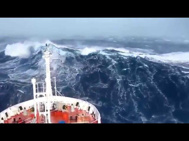 Как выглядит шторм с палубы корабля