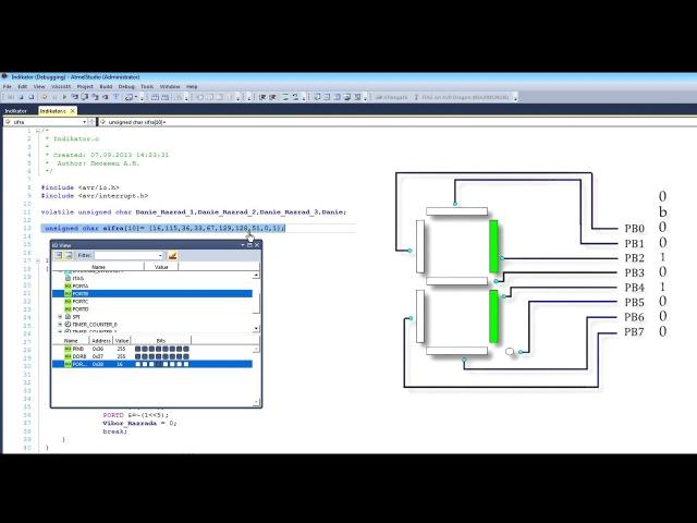 Программирование микроконтроллеров Урок10 LED индикатор на Atmege