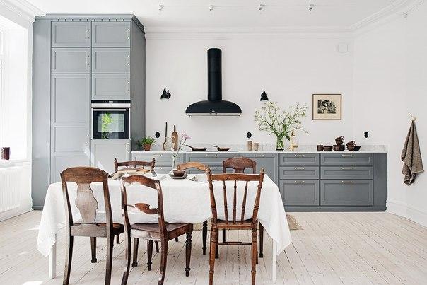 Серый цвет кухни, фото