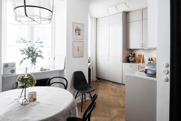 Кухня в светло-сером цвете, фото
