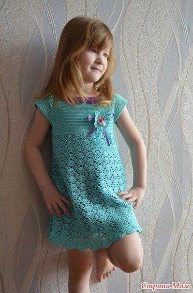 Платье на девочку летнее вязаное крючком, схема… (6 фото) - картинка