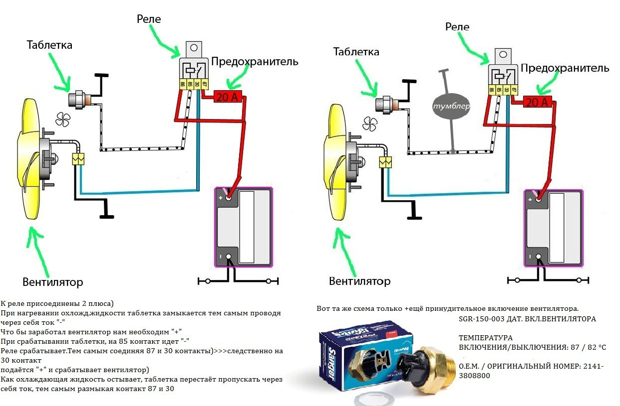 Эл схема ваз вентилятор системы охлаждения