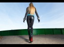 Blonde in Red sole boots crushing food Foodball 2014