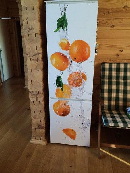реальное фото наклейки на холодильник апельсины