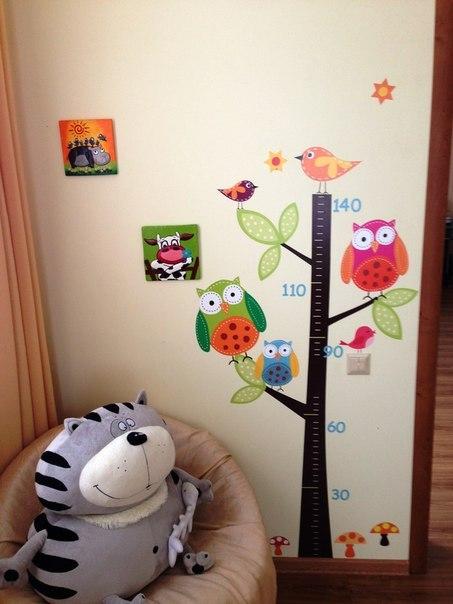 ростомер детский совы фото, наклейка ростомер лесной с совами фото