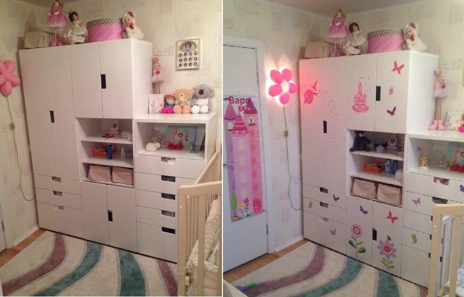 наклейки на стену фото до и после, наклейка на шкаф фото