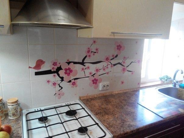 наклейка сакура фото, наклейка на кафель сакура фото