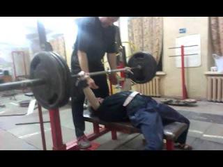Сергей Каразия, жим лежа 130 килограммов на шесть раз