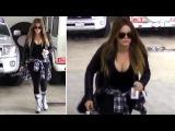 Khloe Kardashian Flaunts Cleavage At The Gym