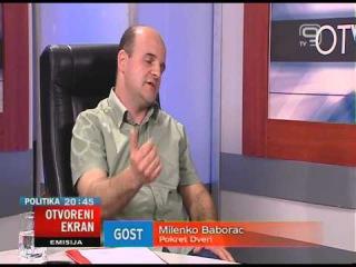 TV KANAL9, NOVI SAD: EMISIJA OTVORENI EKRAN 21.05.2013. Milenko Baborac