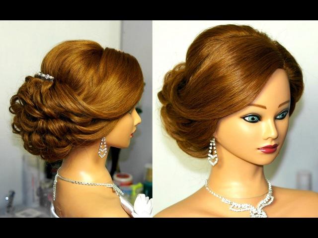Bridal updo. Romantic hairstyle for medium hair.