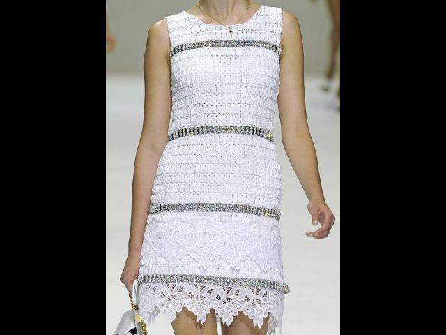 Платье крючком с подиума (DG) 1. Вяжем образец (начало)