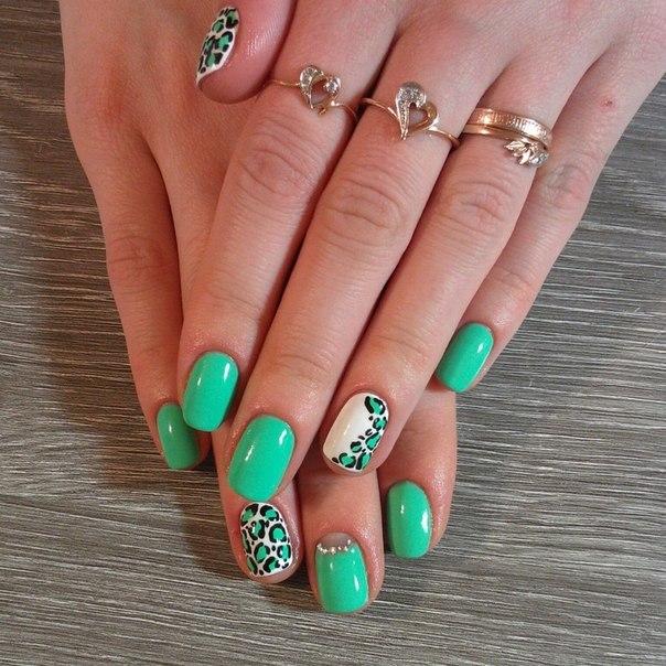 Дизайн ногтей черно зеленые