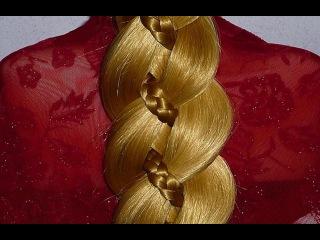 Коса из 4 прядей.ПОДРОБНО.Причёски для средних,длинных волос на каждый день:в шко...