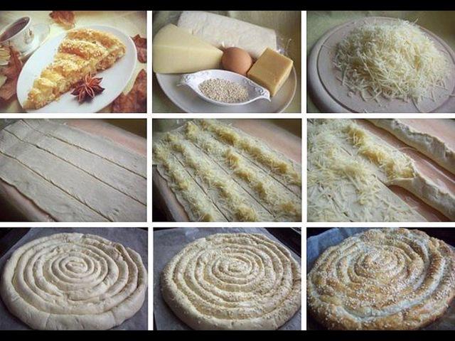 Слоеный пирог с сыром. Простая выпечка, оригинальная выпечка.