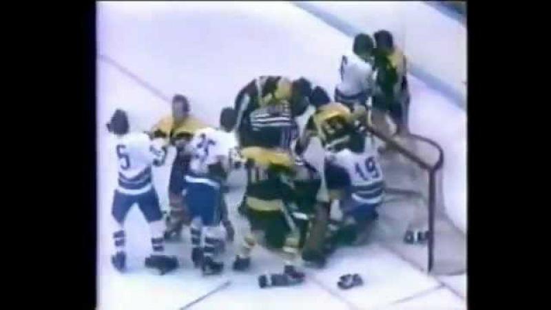 Boston Bruins at Vancouver Canucks Feb 22 1972 Cheevers vs Maki Fight