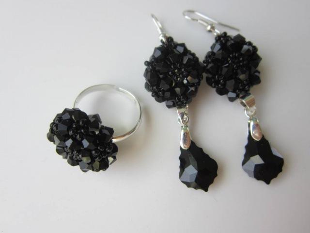 DIY Ring and Earrings with 4mm SW bicones Кольцо и серьги своими руками