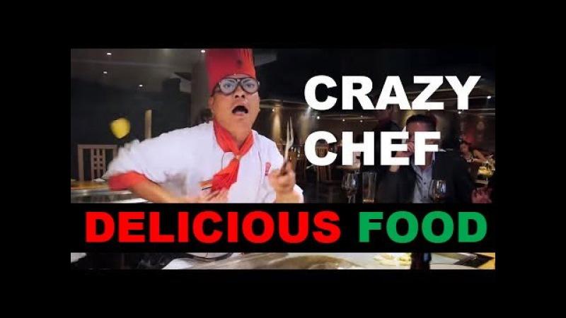 Crazy chef at Benihana in London, UK