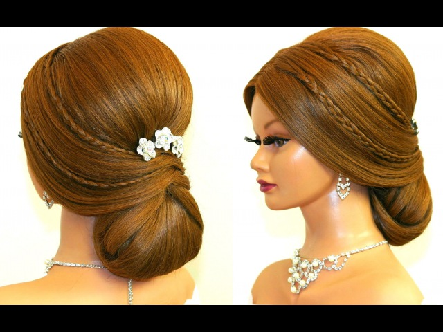 Wedding prom hairstyle for long hair. Romantic updo