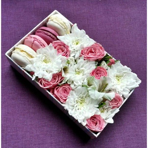 Квадратные коробки с цветами
