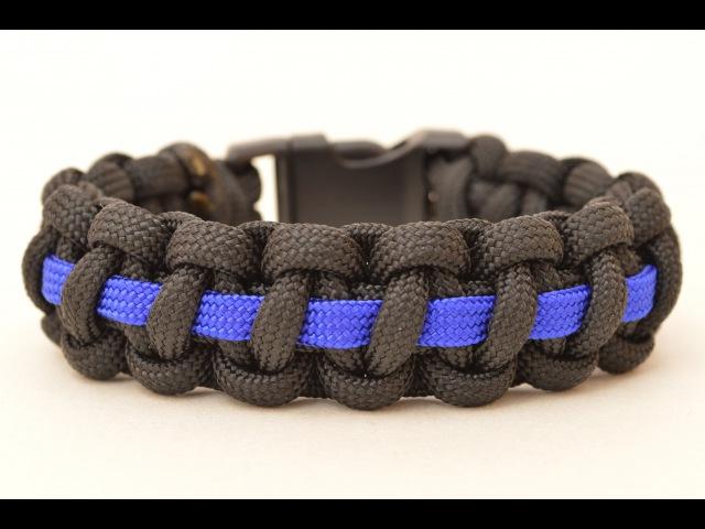 Make a Police Thin Blue Line Paracord Survival Bracelet - BoredParacord.com