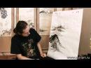Уроки по пейзажной живописи у-син. Китайский пейзаж с рекой и лодками