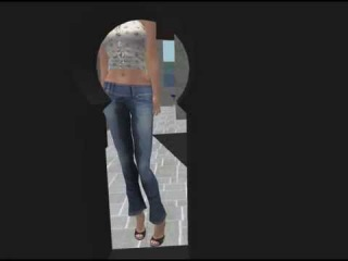 Desperate not to pee in her tight jeans she submits in the end and is getting wet.