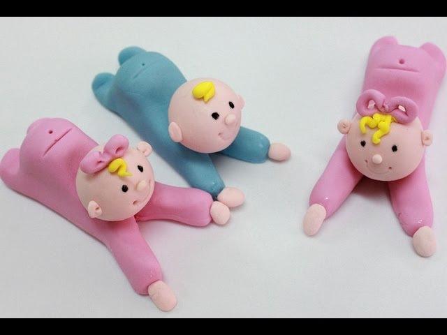 Cómo hacer bebes modelados en fondant o masa elástica How to make a fondant baby