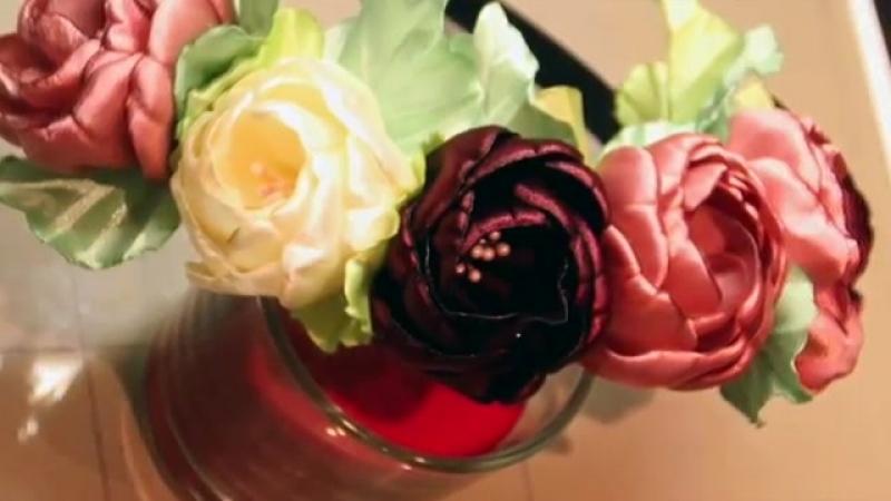 Мастер класс роза из атласной ленты-Невидимки и ободок-трансформеры
