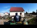 Самодельный трактор.отцепляем прицеп и цепляем бочку,вывоз жижи на поле.