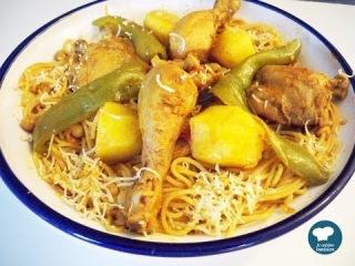 Recette facile de spaghettis au poulet / Cuisine tunisienne