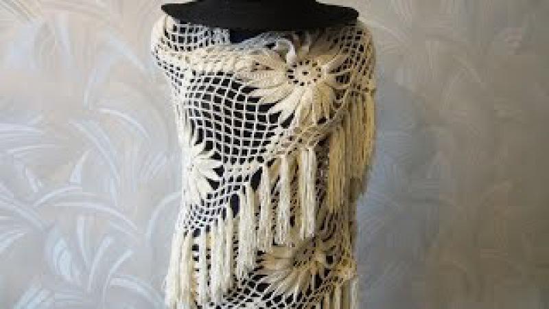Шаль с цветком Ч 1 Shawl with large flower Crochet Р 1