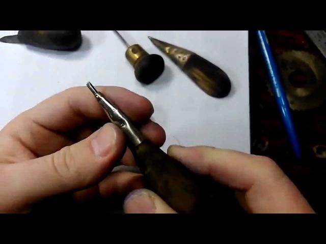 Азы ручной гравировки штихелем . Часть №1(делаем штихель ,затачиваем и первые уп...