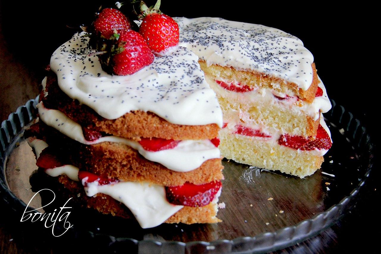 Торт бисквит клубника сливки