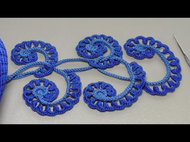 Урок вязания крючком. ЗАВИТОК с витыми столбиками.Howto Crochet Irich lace leafe.