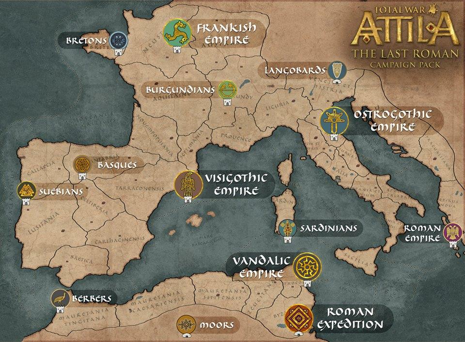 Total War: Attila - карта кампании DLC The Last Roman